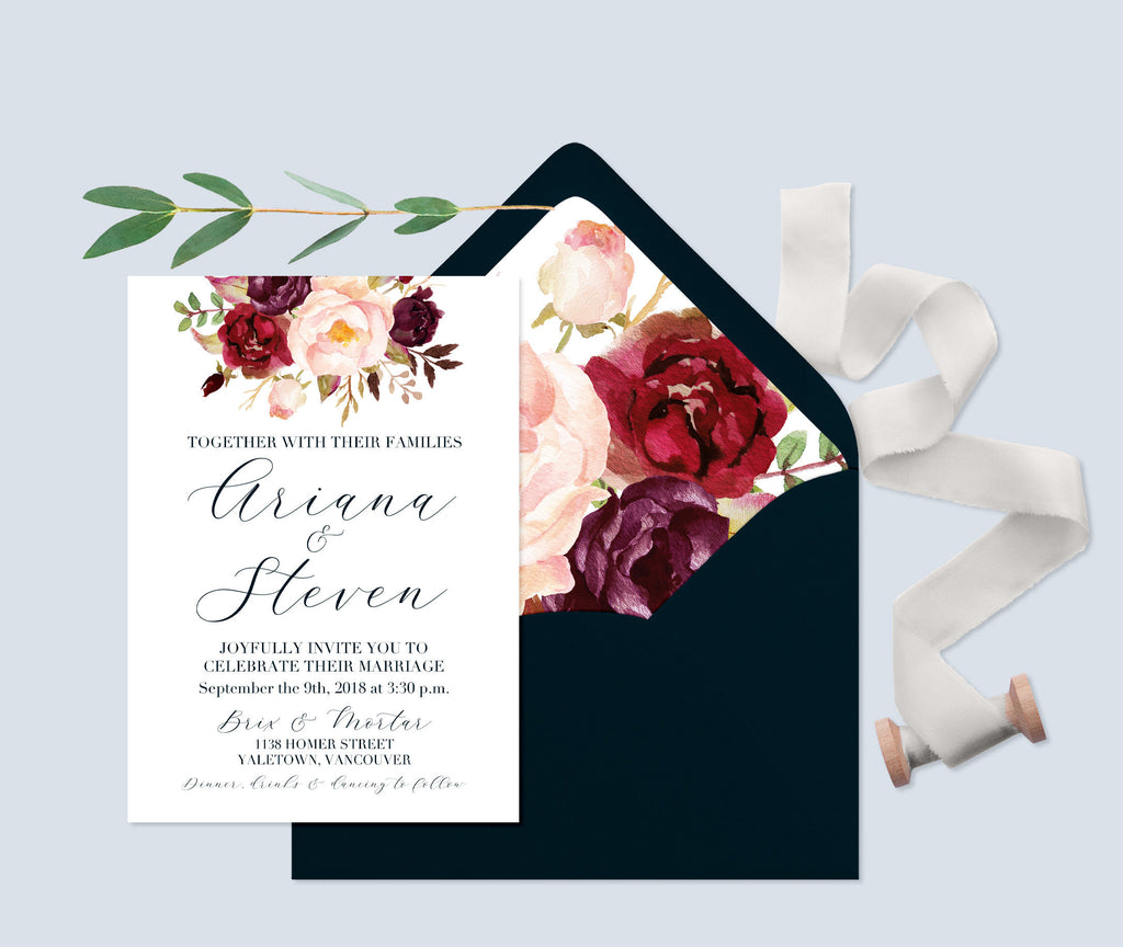 Fall Wedding Invitations, Fall Floral Wedding Invitation, Calligraphy Style Wedding Invite, Printed Wedding Invitations, Navy & Burgundy