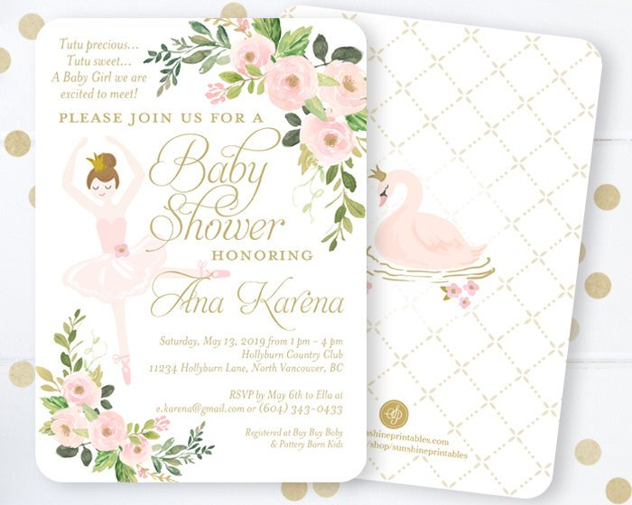 Ballerina Baby Shower Invitation, Tutu Baby Shower Invitation, We're Tutu Excited, Baby Shower Invite, Its a Girl, Ballet Baby Shower Invite