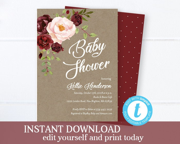 Rustic Floral Bridal Shower Invitation, Kraft Bridal Shower Invite with Flowers, EDITABLE Template, Printable, SP0002