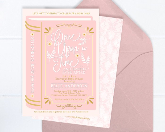 Baby Girl Shower Invitation, Storybook Baby Shower Invite, Baby Girl, Baby Shower Invitation Printable or Printed, Pink and Gold Baby Shower