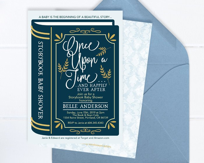 Baby Shower Invitation Boy, Storybook Baby Boy Shower Invite, Baby Boy, Baby Shower Invite Printable or Printed, Blue and Gold Baby Shower