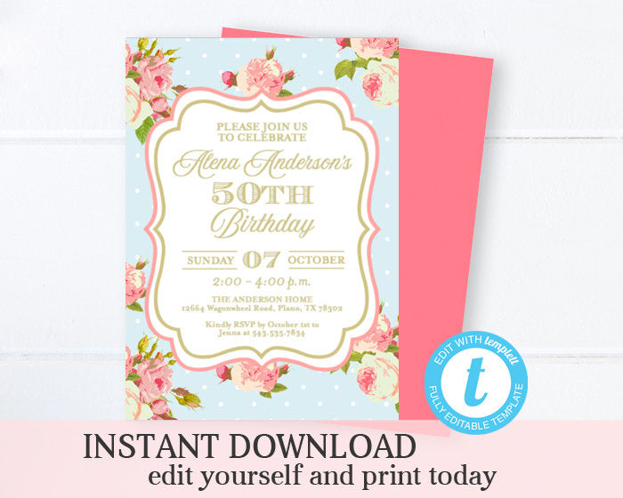 Tea Party Birthday Invitation Shabby Chic Adult Birthday Invite Tea Roses Pink and Gold 50th Birthday Invitation Printable INSTANT DOWNLOAD
