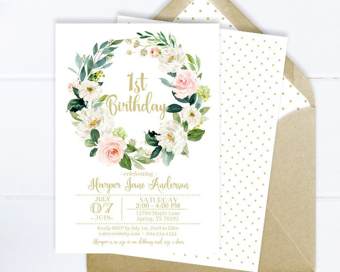 Floral Bridal Shower Invitation, Pink and Gold Floral Invitation, Bridal Shower Invite, Bridal Tea, Printed Invitation or Printable File