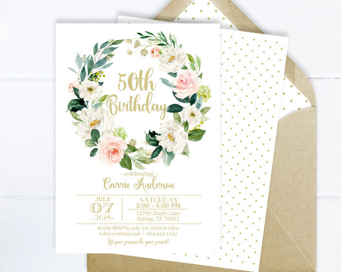 50th Birthday Invitation Womens Invite Any Age Pink And Gold Floral Calligraphy