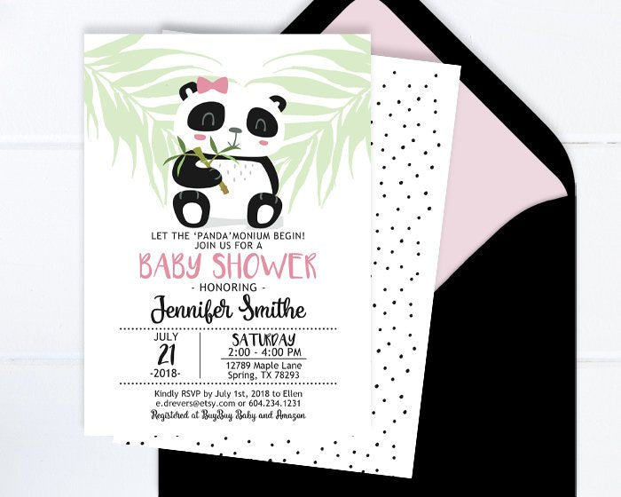Panda Baby Shower Invitation for Girl, Baby Girl Shower Invite, Minimalist Baby Shower, Black and White Baby Shower, Printable or Printed