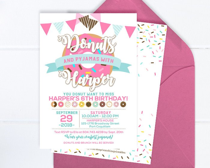 Donuts and Pajamas Invitation, Donut Invitation, Donut Party, Donut Birthday Invitation, Sleepover Party, Doughnut Party, Pajama Party