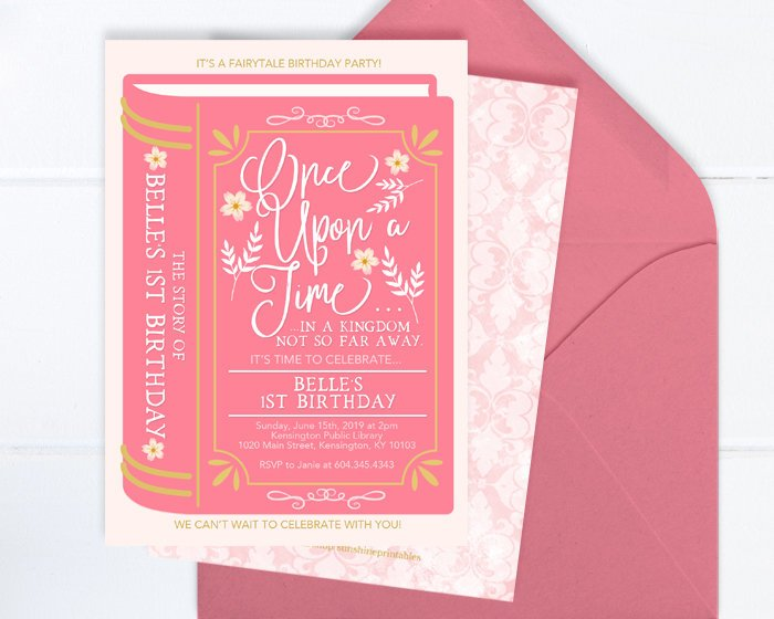 Princess Birthday Invitation, Once Upon a Time Birthday Invite, Fairytale Birthday Invitation, Book Theme Birthday Party, 1st Birthday Girl