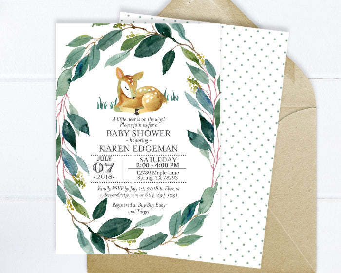 Woodland Deer Baby Shower Invitation Little Deer Baby Shower Invite