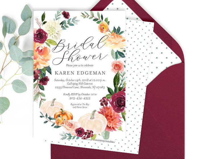 Fall Bridal Shower Invitation, White Pumpkins, Fall in Love Bridal Shower Invitation, Fall in Love Shower, Fall Floral, Printed or Printable