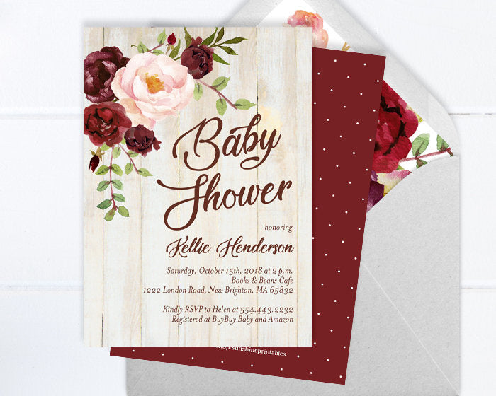 Rustic Baby Shower Invitation, Gender Neutral Baby Shower Invite, Burgundy and Blush Peony Floral Baby Shower Invite, Barn Wood, ANY EVENT