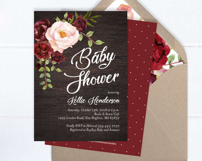 Fall Baby Shower Invitation, Rustic Baby Shower Invite, Burgundy and Blush Peony Floral Baby Shower Invite, Dark Barn Wood, ANY EVENT