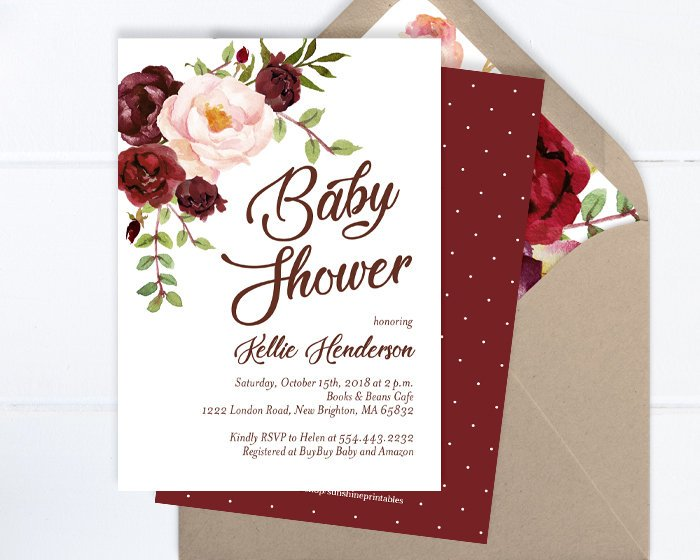 Gender Neutral Baby Shower Invitation, Floral Baby Shower Invite, Burgundy and Blush Peony Floral Baby Shower Invite, ANY EVENT