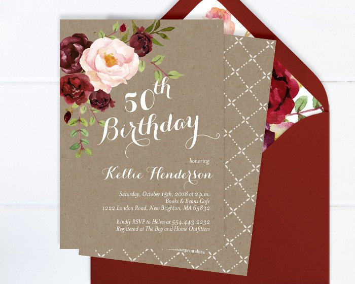 Rustic 50th Birthday Invitation, Kraft Floral Birthday Invite, Burgundy Adult Birthday Invite, Burgundy and Blush Floral Invitation ANY AGE