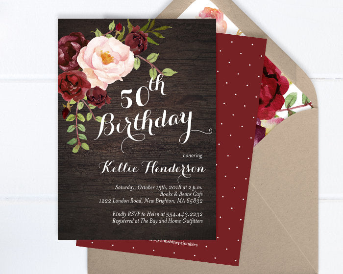 50th Birthday Invitation, Dark Wood and Burgundy Floral Birthday Invite, Adult Birthday Invite, Burgundy and Blush Floral Invitation ANY AGE