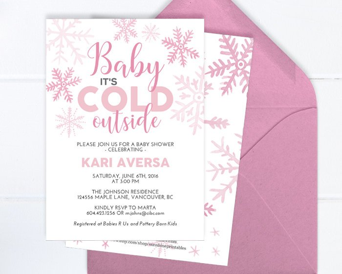 Winter Baby Girl Shower Invitation, Watercolor Pink Snowflakes, Little Snowflake Baby Girl Shower Invite, Baby It's Cold, Printable, Printed