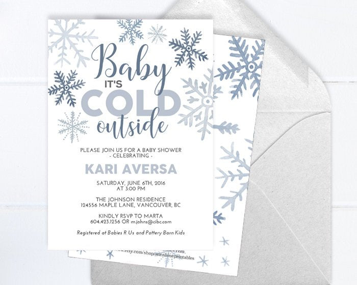Winter Baby Boy Shower Invitation, Watercolor Snowflakes, White and Blue Snowflake, Little Snowflake Baby Boy Shower Invite, Baby It's Cold
