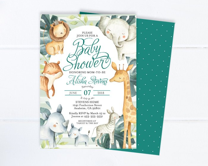 Printed Safari Baby Shower Invitations, Gender Neutral, Safari Theme, Giraffe Baby Shower, Elephant Baby Shower, Tropical Jungle, Wild Baby