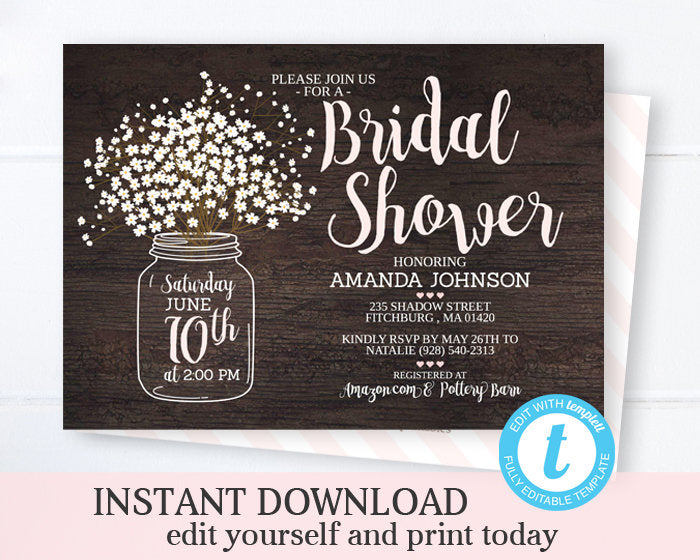 Rustic Bridal Shower Invitation Template Editable Invitation Printable Wedding Shower Mason Jar Invite Instant Download Templett Invitation