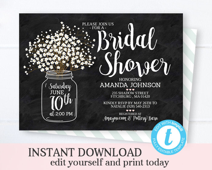 Chalkboard Bridal Shower Invitation, Rustic Mason Jar, Baby's Breath, Chalkboard,  Shabby Chic, Wedding Shower, INSTANT DOWNLOAD
