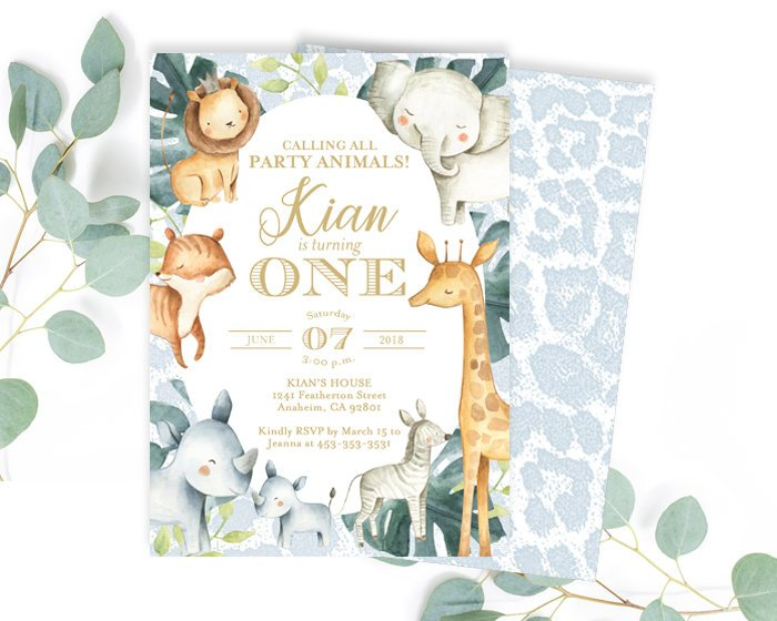 Tropical Jungle Greenery Birthday Invitation, Safari Party, Zoo Animal Birthday, Wild One, Two Wild, Wild and Three, ANY AGE, Jungle Animals