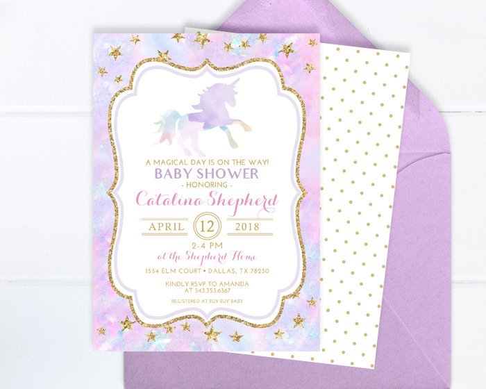 Unicorn Baby Shower Invitation Pastel Watercolor Purple and Gold Unicorn Invitation Girl Baby Shower Invite Printed Baby Shower Invitation