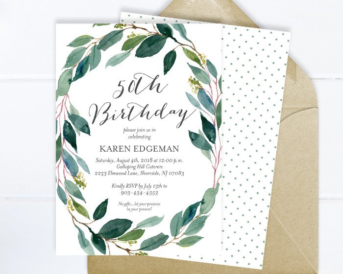 Birthday Invitation, Watercolor Eucalyptus Wreath Birthday Party Invitation, Printable Greenery Invitation, Printed Greenery Invitation
