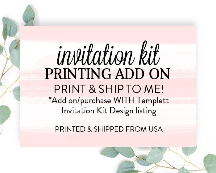 Print My Invitation Kit, Printed Invitation Kit, Add On for Printed Kit, Printed Invitations, Thank You's, Bring a Book & Diaper Raffle Card