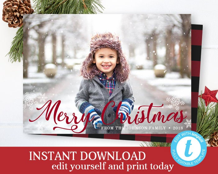 Script Merry Christmas Photo Card INSTANT DOWNLOAD Holiday Photo Cards Christmas Card Holiday Card Photo Christmas Cards Editable Template