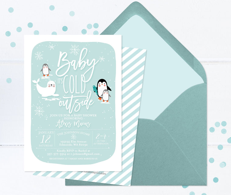 Winter Baby Shower Invitation Penguins and Seal Arctic Animals Baby Shower Invitation Arctic Baby Shower Invitation Snow Blue Mint
