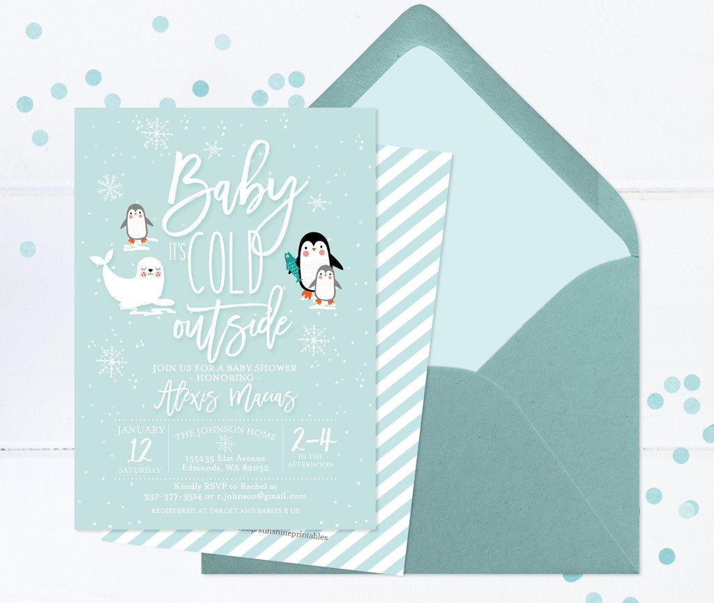 Winter Wonderland Baby Shower Invitation Baby Boy Shower Invite Arctic Animals Ice and Snowflakes Penguins Seals Baby It's Cold Outside