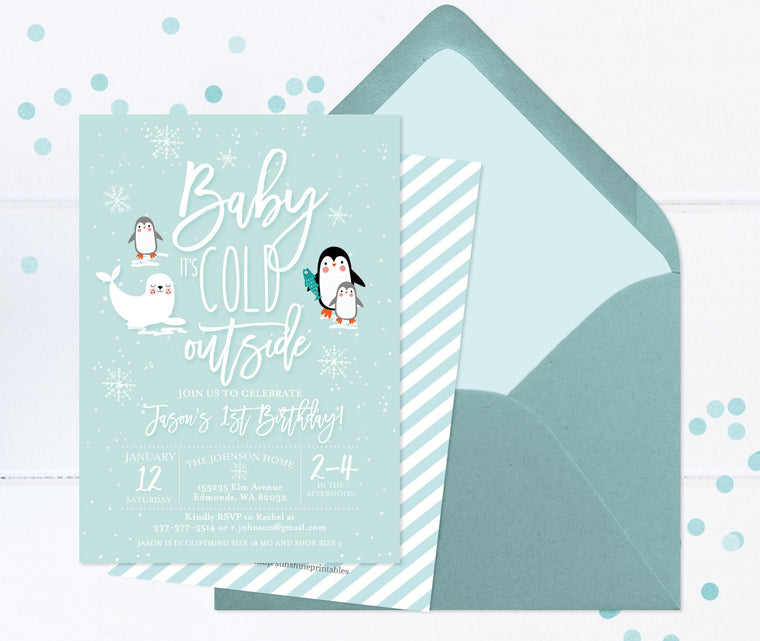 Winter 1st Birthday Invite Boy First Birthday Invitations Printable or Printed Winter Animals Birthday Invite Arctic Animals Penguins