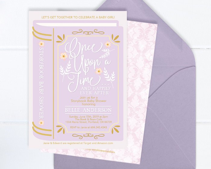 Once Upon a Time Baby Shower Invitation, Storybook Girl Baby Shower Invite, Baby Girl Shower Invitation, Storybook Theme, Library Theme