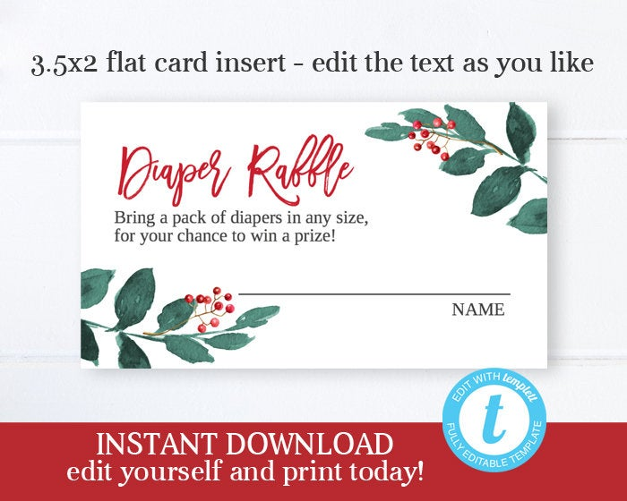 Christmas Baby Shower Diaper Raffle Card, Gender Neutral Winter Baby Shower Holly Berry Diaper Raffle Ticket, Instant Download, Templett