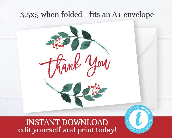 Christmas Baby Shower Thank You Winter Baby Shower Thank You Editable Thank You Instant Download