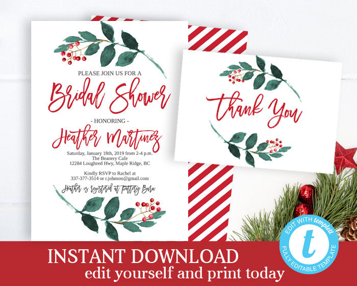 Christmas Bridal Shower Invitation KIT Winter Bridal Shower Invite and Thank You Card Holiday Party Bridal Brunch Invite Printable INSTANT