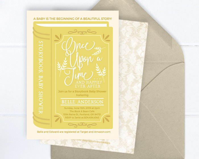 Storybook Baby Shower Invitation, Gender Neutral Baby Shower Invitation, Once Upon a Time Baby Shower, Peach & Gold Baby Shower Invite