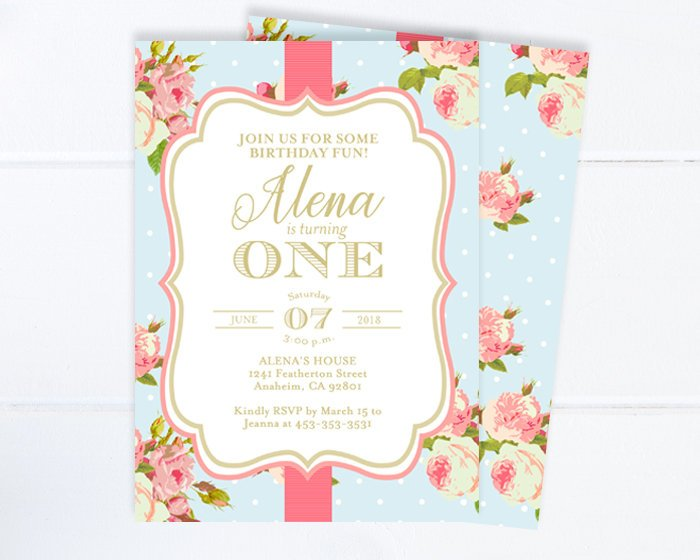 Floral First Birthday Invitation With Photo Girl Tea Party 1st Invite Vintage Roses Style Pink ANY AGE