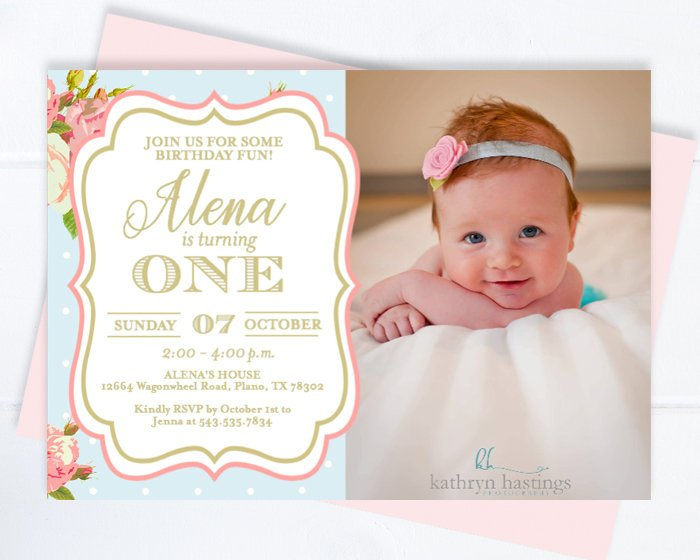 Floral First Birthday Invitation with Photo, Girl Tea Party 1st Birthday Invite, Vintage Roses Style Pink Roses Tea Party Invite ANY AGE