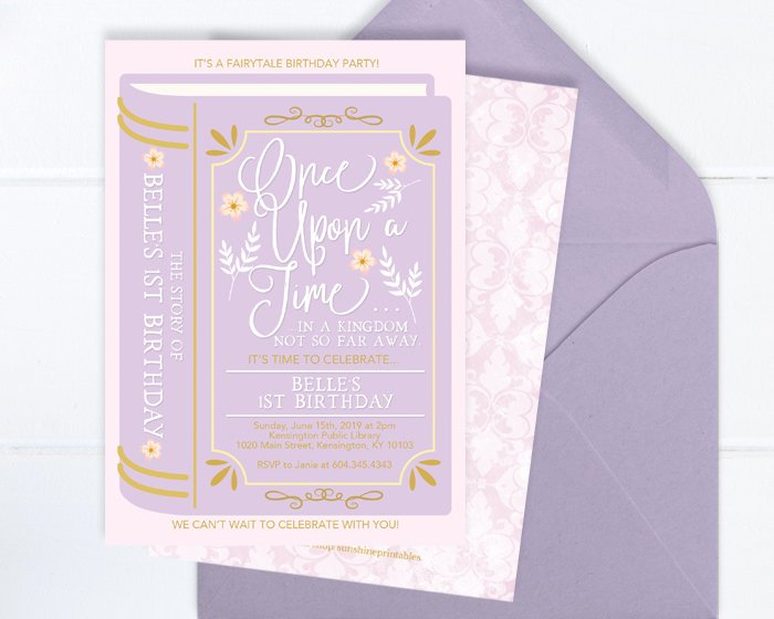 Once Upon A Time Birthday Invite Fairytale Birthday Invitation