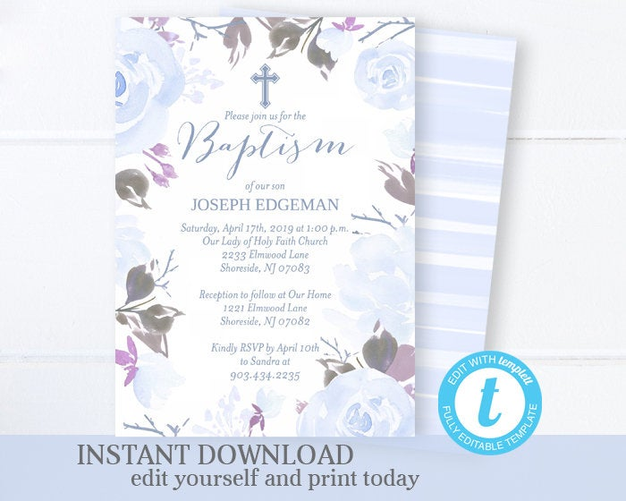 Boy Baptism Invitation Floral Blue Baptism Invitation Boy Watercolor Floral Baptism Invite Printable Invitation EDITABLE Template Templett