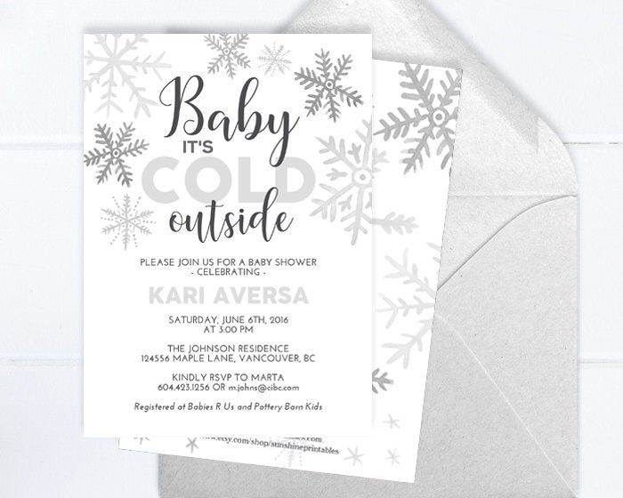 Winter Baby Shower Invitation, Watercolor Snowflakes, White and Silver Snowflake, Little Snowflake Baby Shower Invite, Baby It's Cold