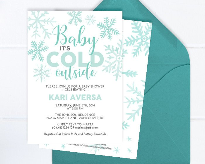 Winter Baby Shower Invitation Gender Neutral, Aqua Snowflakes, Little Snowflake Baby Shower Invite, Baby It's Cold, Printable Invitation