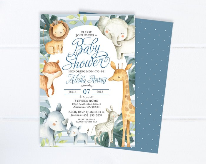 Baby Shower Invitation Boy, Baby Animals Invitation, Cute Safari Animals, Baby Shower Invite, Lion, Elephant, Giraffe, Jungle Animals