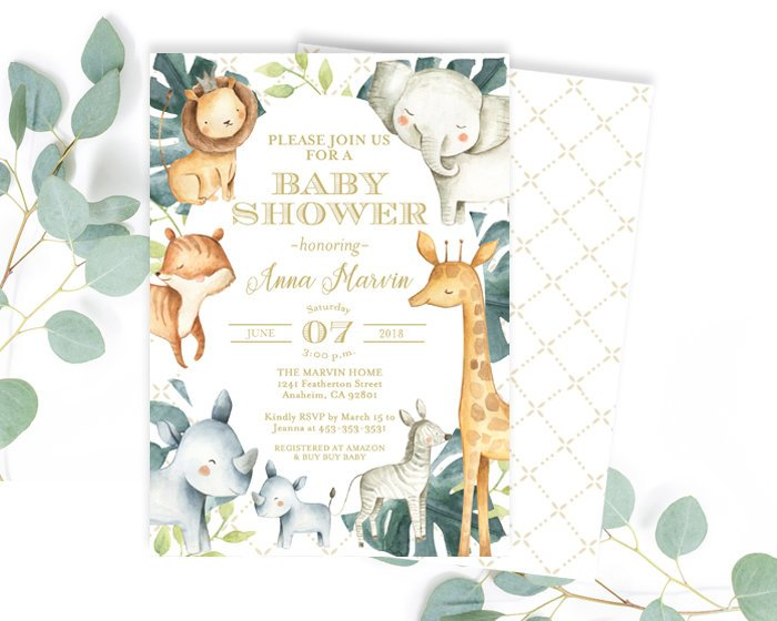 Safari Theme Safari Theme Party Safari Baby Shower Invitation