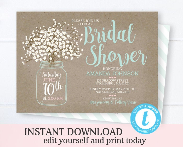 Bridal Shower Invitation, INSTANT DOWNLOAD, Editable with Templett, Rustic Bridal Shower Invite, Mason Jar Bridal Shower, Babies Breath