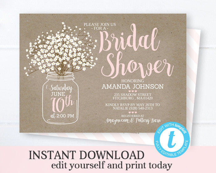 Mason Jar Bridal Shower Invitation Template INSTANT DOWNLOAD Printable Wedding Shower Invite Rustic Bridal Brunch Bridal Invite Editable