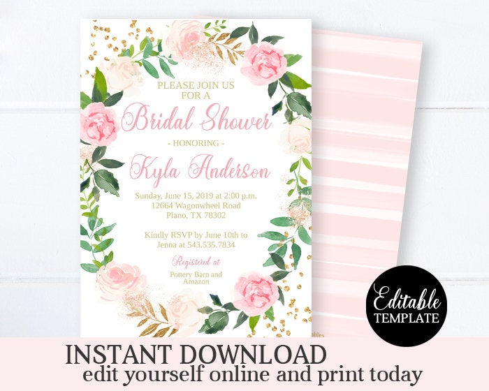 Blush Pink Floral Bridal Shower Invitation Template, Printable Bridal Shower Invitation Card, Blush Pink and Gold