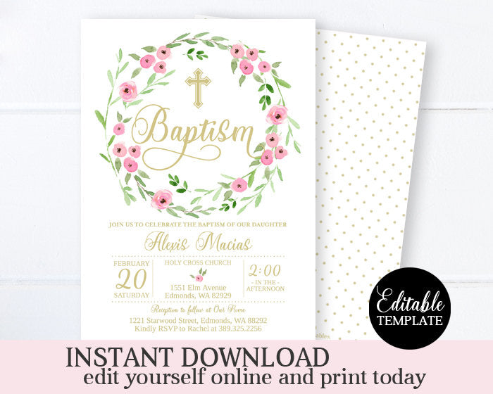 Pink Floral Girl Baptism Invitation Printable Invitation Editable Template Instant Download Spring Baptism Invite Pink and Gold Christening