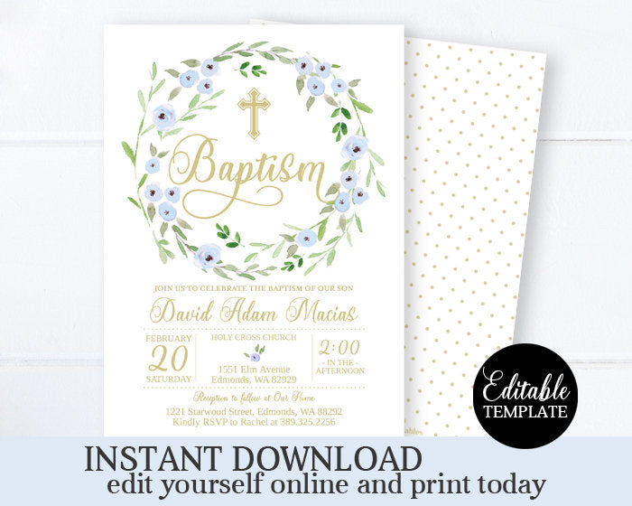Blue and Gold Boy Baptism Invitation Printable Invitation Editable Template Digital File Baptism for Boy Floral Spring Baptism Christening