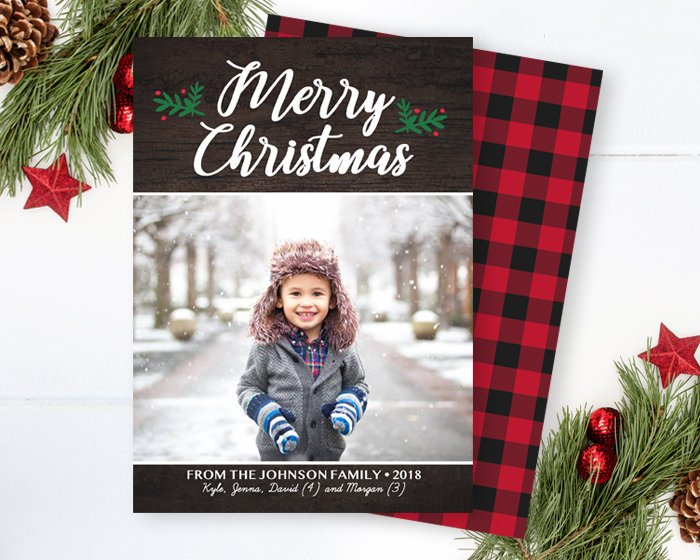 Rustic Merry Christmas Photo Card Dark Wood Script Merry Christmas Holiday Card Buffalo Plaid Check Backing Printable or Printed Photo Cards